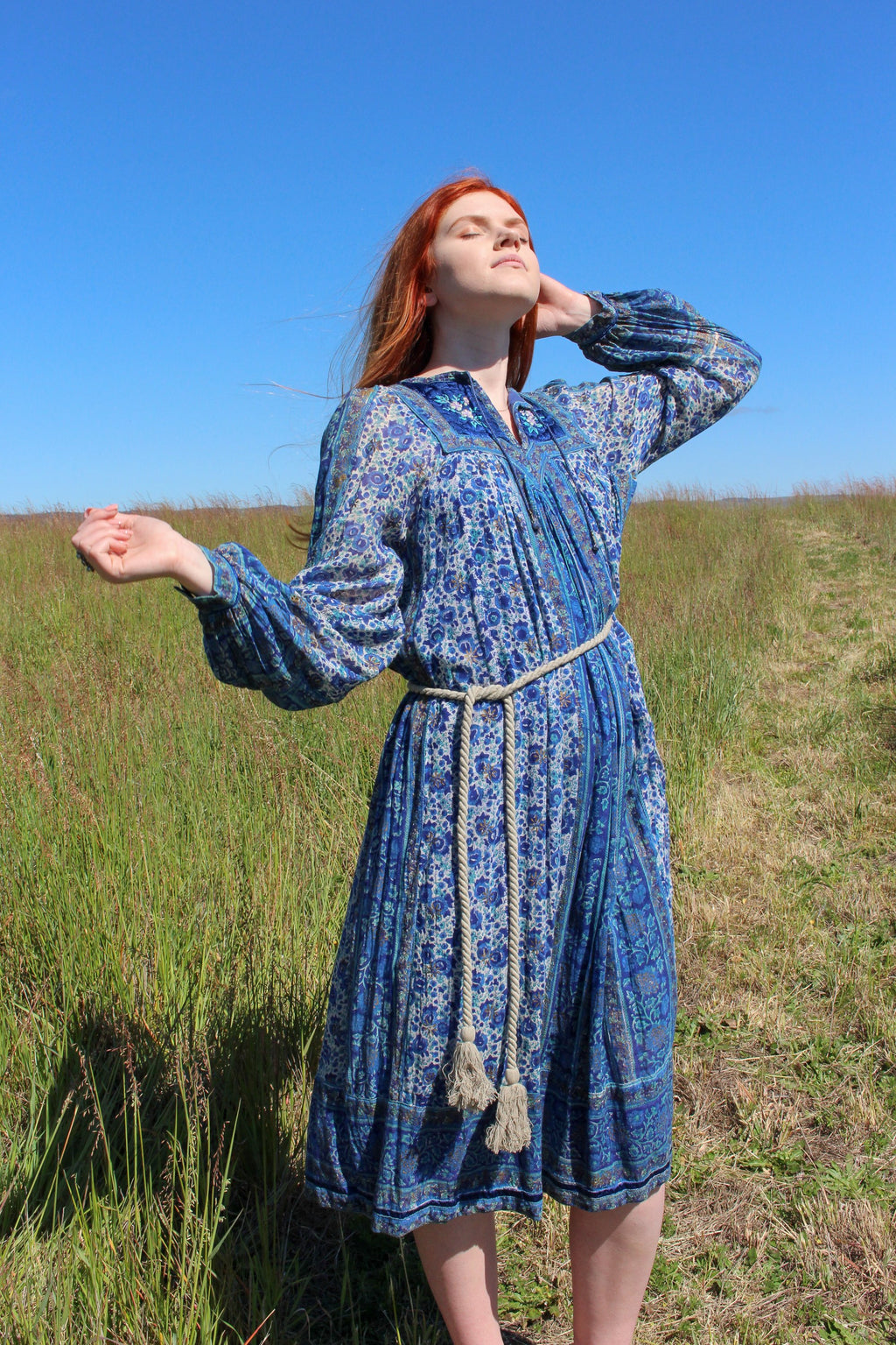 Long Sleeve Bohemian Dress - Bohemian Gypsy Dress - Indian Gauze Dress - Hippie Embroidered Dress - Cotton Gauze Dress - Long Sundress