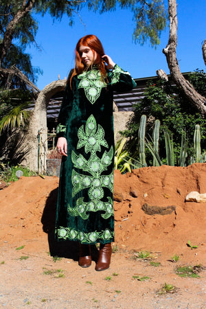 Kaftan Maxi Dress - Long Sleeve Kaftan - Evening Velvet Dress - Long Sleeve Gypsy Dress - 70s Indian Cotton Dress - Embroidered Folk Dress