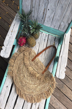 Beach Basket Bag - Boho Bag Fringe - Straw Beach Bag - Oversized Bag - Boho Tassel Bag - Leather Handle  - Raffia Bag - Bohemian Wife Gift