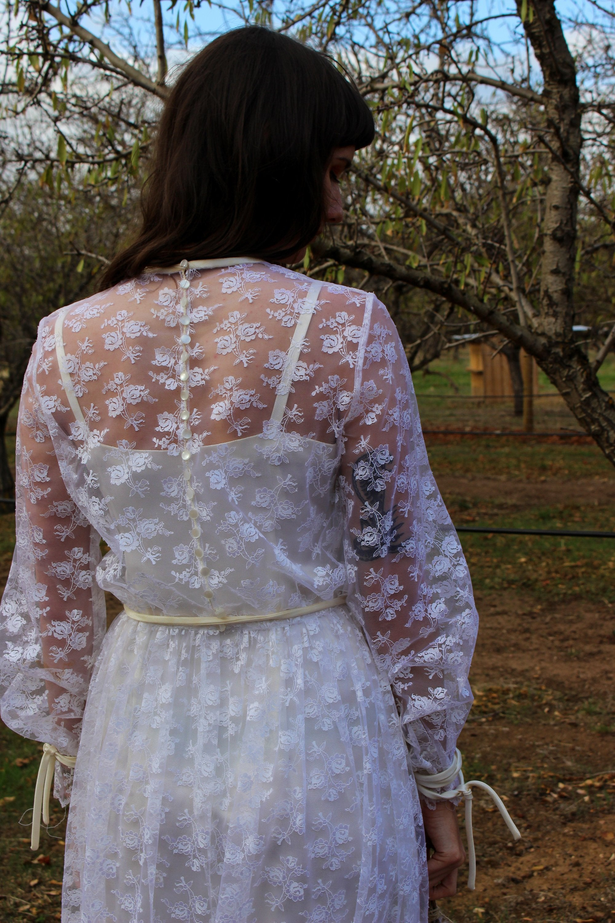 Lace Long Sleeve Dress - Boho Lace Wedding Dress - Rustic Wedding Dress - Romantic Wedding Dress - Hippie Wedding Dress - Boho Bridal Dress