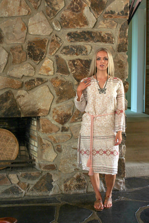 Dress Kaftan Summer - Beach Wedding Dress - Long Sleeve Bohemian Dress - Gypsy Dress - Indian Gauze Dress - Cotton Gauze - Indian Cotton