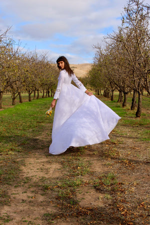 Simple Wedding Dress - Unique Wedding Dress - Hippie Wedding Dress - Boho Wedding Dress - Long Sleeve Wedding - Cathedral Train Wedding