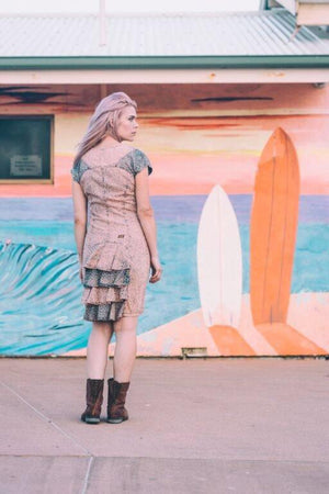 Boho Gypsy Style Dresses - Body-Con With Sleeves - Bohemian Festival Mini Dress -  Midi Dress For Wife - Acid Wash - Spring Pencil Dress