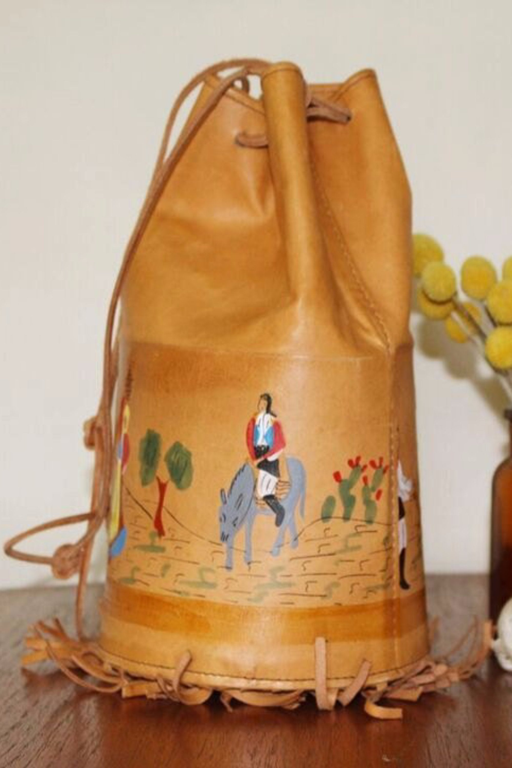 Bucket Bag - Leather Shoulder Bag Gift - Leather Bucket Bag - Leather Casual Bag - Bohemian Leather Bag - Hand Tooled Leather Purse