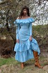 Vintage 1970s Off The Shoulder Boho Prairie Dress