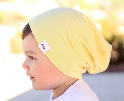 Yellow slouchy beanie - Kristian Haris Apparel, Kids Beanies, Kids shirts, Childrens clothing