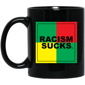 4 Square Rasta Racism Sucks 11 oz. Black Mug