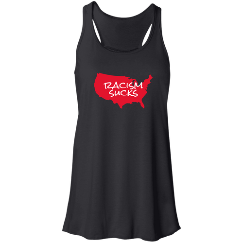 Racism Sucks America Flowy Racerback Ladies Tank