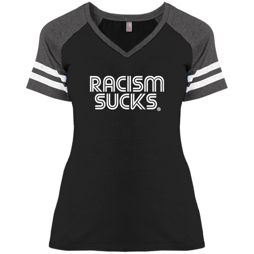 Racism Sucks Ladies' Game Day V-Neck T-Shirt