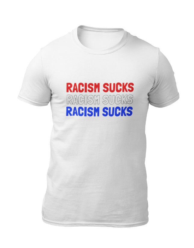 Racism Sucks Red White & Blue Short-Sleeve Unisex T-Shirt