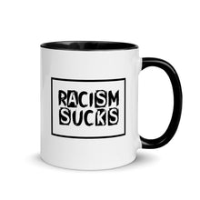 Racism Sucks Mug with Color Inside - Black