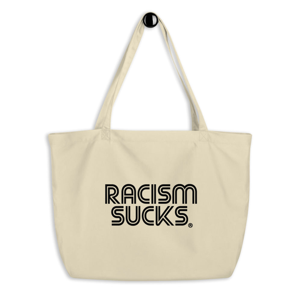 Racism Sucks Large organic tote bag - Cream