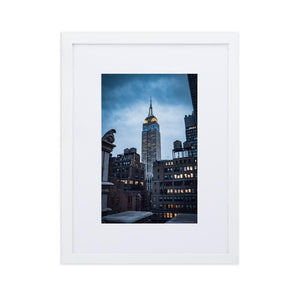 EMPIRE STATE Posters 12in x 18in (30cm x 45cm) / Europe only - White framed with mat - Thibault Abraham