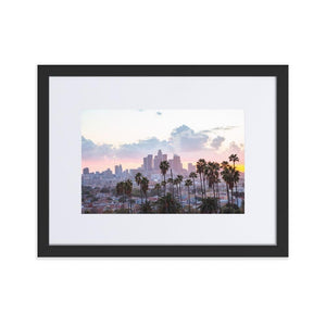 LOS ANGELES SUNSET Posters 12in x 18in (30cm x 45cm) / Europe only - Black framed with mat - Thibault Abraham