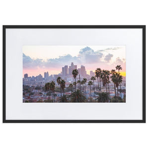 LOS ANGELES SUNSET Posters 24in x 36in (61cm x 91cm) / Europe only - Black framed with mat - Thibault Abraham