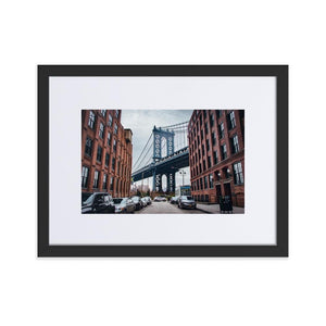 MANHATTAN BRIDGE Posters 12in x 18in (30cm x 45cm) / Europe only - Black framed with mat - Thibault Abraham