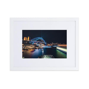 SYDNEY HARBOR Prints 12in x 18in (30cm x 45cm) / Europe only - White frame with mat - Thibault Abraham