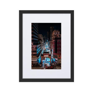 TEMPLE STREET NIGHT MARKET Posters 12in x 18in (30cm x 45cm) / Europe only - Black framed with mat - Thibault Abraham