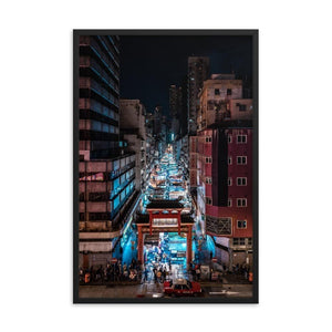 TEMPLE STREET NIGHT MARKET Prints 24in x 36in (61cm x 91cm) / Framed - Thibault Abraham