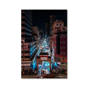 TEMPLE STREET NIGHT MARKET Prints 24in x 36in (61cm x 91cm) / Unframed - Thibault Abraham