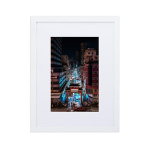 TEMPLE STREET NIGHT MARKET Posters 12in x 18in (30cm x 45cm) / Europe only - White framed with mat - Thibault Abraham