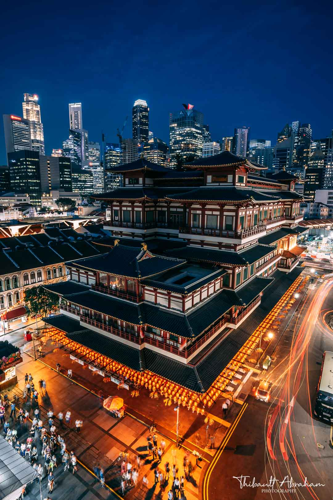Photograph of the Buddha Tooth Relic Temple at night in Singapore