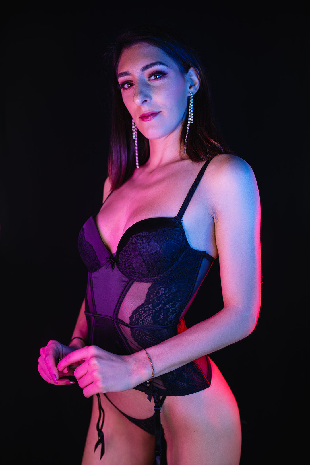 Portrait of a model in corset with neon colors