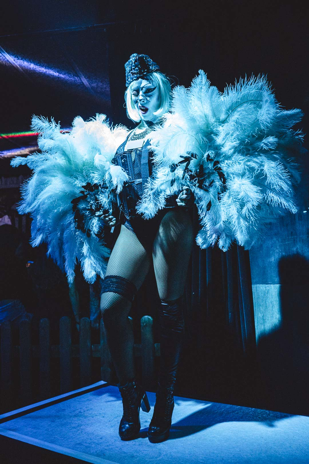 Cabaret dancer with feathers