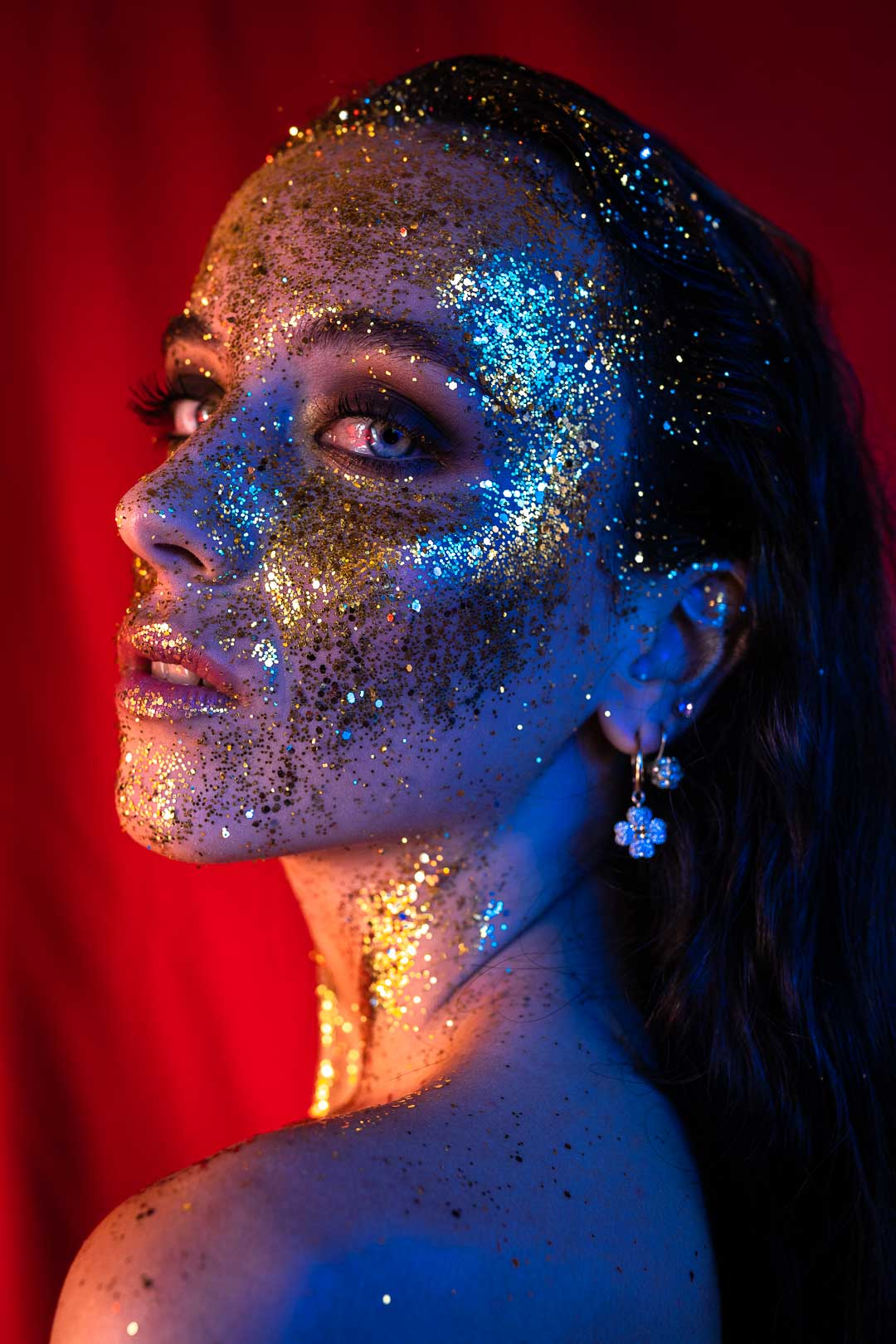 Close up glittery female model for beauty shoot