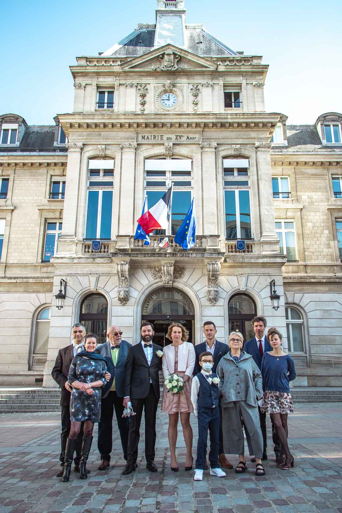 Wedding group portrait of the Town Hall of the 15th arrondissement in Paris