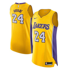 e1a89bcaf96 Los Angeles Lakers #24 Kobe Bryant NBA Authentic Yellow Jersey ...