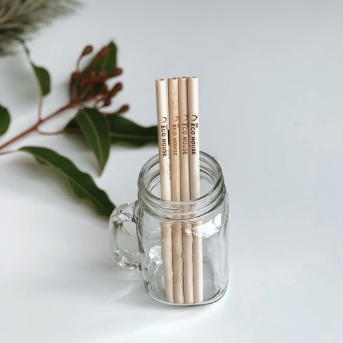 4 piece bamboo straws, straw cleaner, pouch