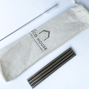 4 PIECE COCKTAIL STRAWS, SHORT STRAW WITH CLEANER
