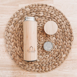 bamboo flask with stainless steel inner and strainer