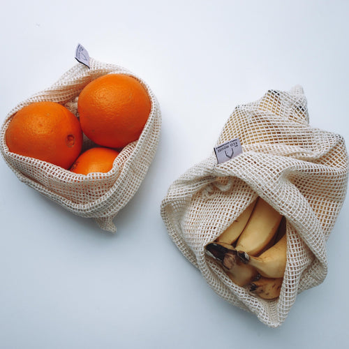 Organic Cotton Fruit & Veg mesh bags Small medium large
