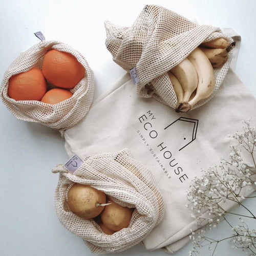 Eco Friendly Organic Cotton Fruit & Veg mesh bags (Small, medium, large), Eco Market Tote
