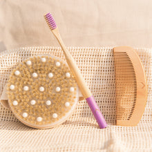 Load image into Gallery viewer,  Eco Friendly, Panda Friendly Bamboo Toothbrush,  Bamboo Comb, Dry/Wet Exfoliating Body Brush