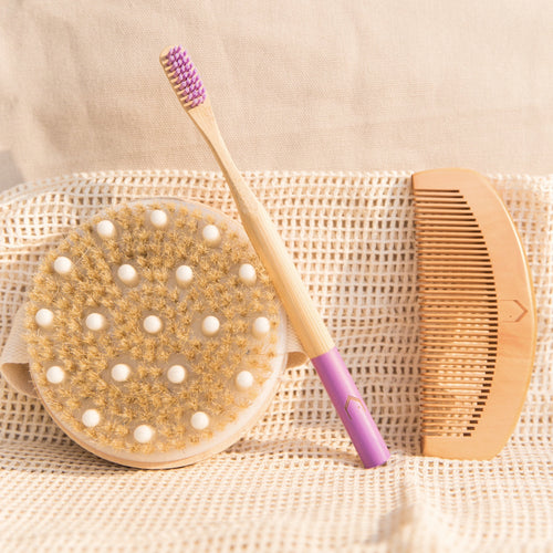 Eco Friendly, Panda Friendly Bamboo Toothbrush,  Bamboo Comb, Dry/Wet Exfoliating Body Brush