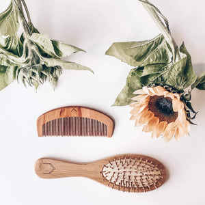 Eco Friendly, Panda Friendly, Wooden Detangler Hairbrush, Walnut Wooden Comb