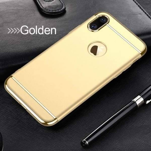 3 In 1 Ultra Thin Cover Plating Matte For Iphone X Cases - Golden - Iphone Cases & Bags - Paidcellphone
