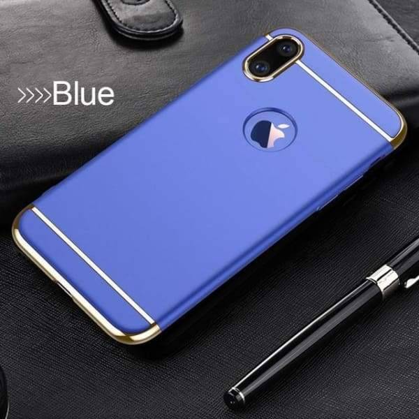 3 In 1 Ultra Thin Cover Plating Matte For Iphone X Cases - Blue - Iphone Cases & Bags - Paidcellphone