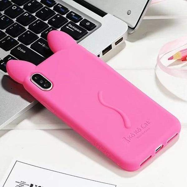 3D Cartoon Cute Cat For Iphone X Case - Light Hot Pink - Iphone Cases & Bags - Paidcellphone