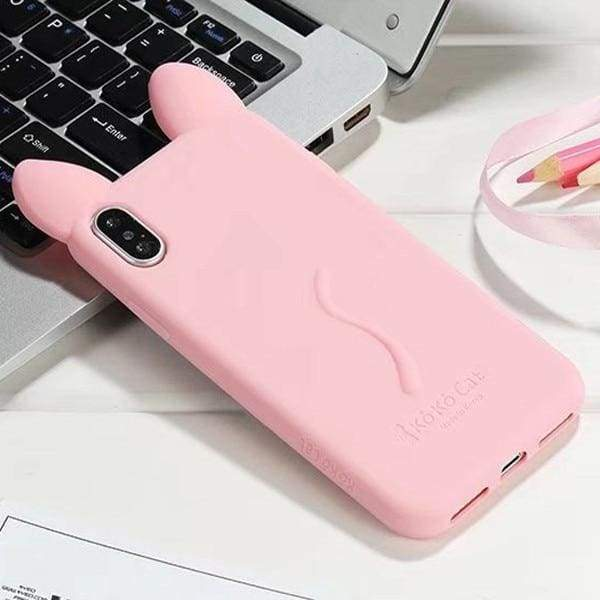 3D Cartoon Cute Cat For Iphone X Case - Deep Pink - Iphone Cases & Bags - Paidcellphone