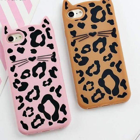 3D Silicon Fitted Case For Iphone X/ 8/7 /6(S) Plus Leopard Cat - Iphone Cases & Bags - Paidcellphone