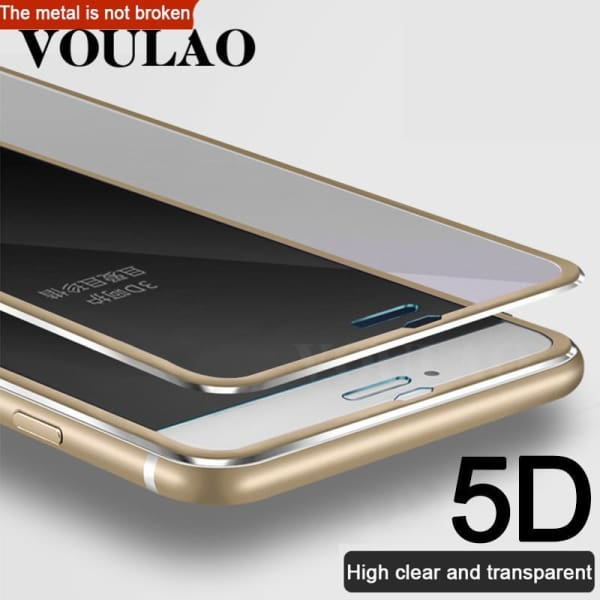 5D Aluminum Alloy Tempered Glass For Iphone 5 Se /5S /6 /6S /7 Plus /x /8 - Screen Protectors - Paidcellphone