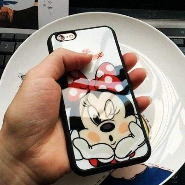 Cartoon Mickey Minnie Mouse Case For Iphone X / 5S Se/ 6(S) /7/8 Plus - Minnie / For Iphone 5 5S Se - Iphone Cases & Bags - Paidcellphone