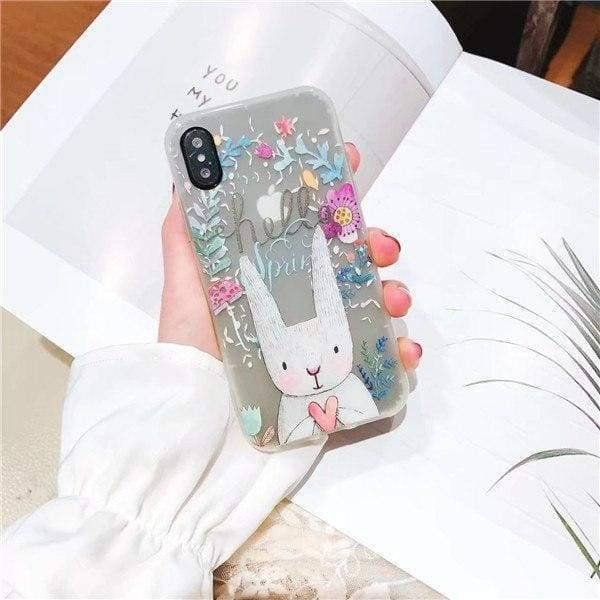 Cute Cartoon Luminous Case For Iphone X/ 8/ 7 / 6/6S & Plus - Rabbit / For Iphone 6 6S - Iphone Cases & Bags - Paidcellphone