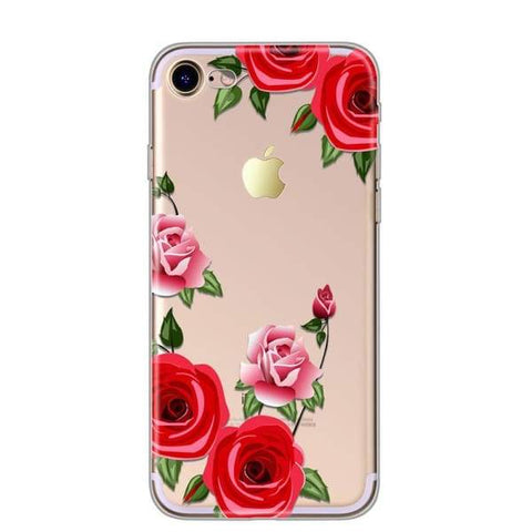 Flower Case For Iphone X /8/7/ 6(S) Plus/ 5(S) Se Red - Iphone Cases & Bags - Paidcellphone