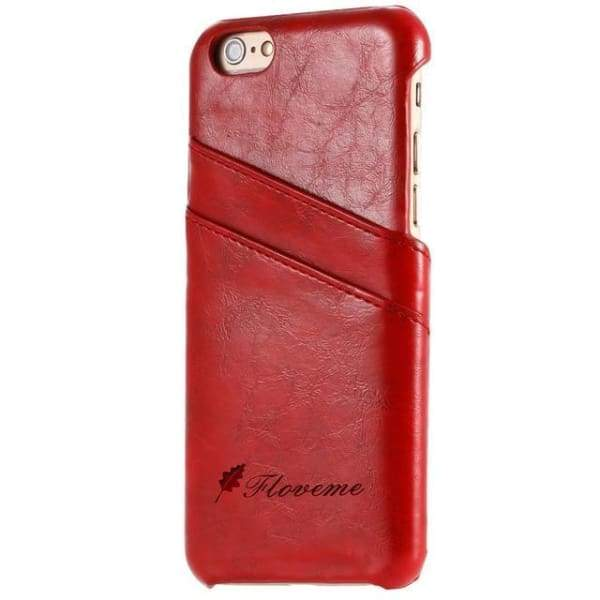 Iphone Card Holder Cover For Iphone X /8 /7 Plus /5 /5S /6 /6S Plus - Red / China / For Iphone 6 6S - Iphone Cases & Bags - Paidcellphone