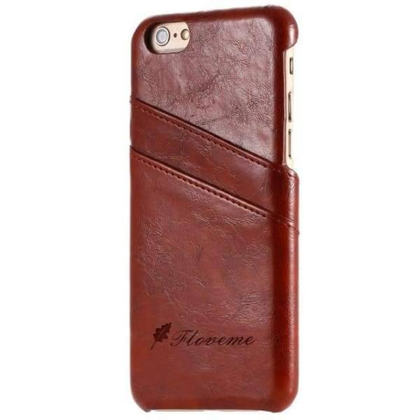 Iphone Card Holder Cover For Iphone X /8 /7 Plus /5 /5S /6 /6S Plus - Brown / China / For Iphone 6 6S - Iphone Cases & Bags - Paidcellphone